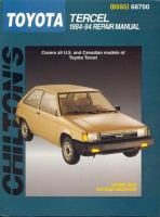 Chilton's Toyota Tercel, 1984-94 Repair Manual