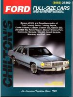Chilton's Ford Full-size Cars 1968-88 Repair Manual