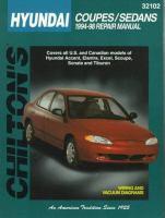 Chilton's Hyundai Coupes/sedans, 1994-98, Repair Manual