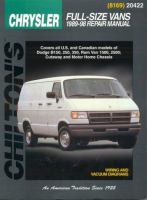 Chilton's Chrysler Full-size Vans, 1989-98 Repair Manual