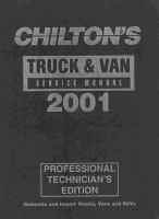 Chilton's Truck, Van and SUV Service Manual, 2001