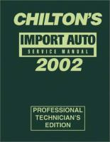 Chilton's Imported Auto Service Manual, 2002