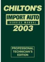 Chilton's Import Auto Service Manual, 2003