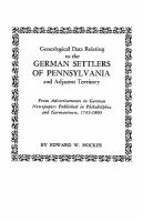 Genealogical Data Relating to the German Settlers of Pennsylvania and Adjacent Territory