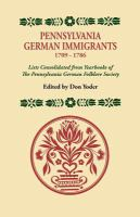 Pennsylvania German Immigrants, 1709-1786