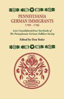 Pennsylvania German Immigrants, 1709-1786