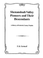 Shenandoah Valley Pioneers and Their Descendants