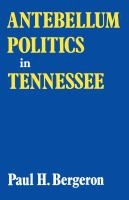 Antebellum Politics in Tennessee
