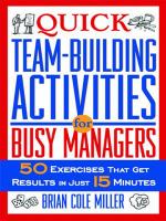 Quick Teambuilding Activities For Busy Managers