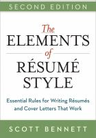 The Elements of Résumé Style