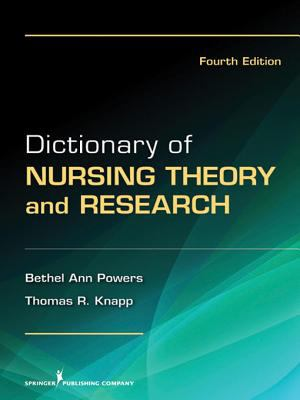 """Picture of book cover for """"Dictionary of Nursing Theory and Research"""""""