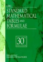 CRC Standard Mathematical Tables and Formulae