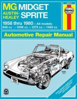 Midget & Sprite Automotive Repair Manual, 1958 Thru 1980