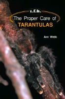 The Proper Care of Tarantulas