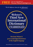 Webster's Third New International Dictionary of the English Language, Unabridged