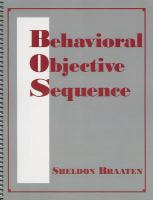 Behavioral Objective Sequence