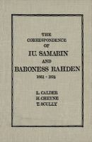 The Correspondence of IU. Samarin and Baroness Rahden (1861-1876)