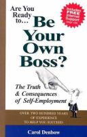 Are You Ready To-- Be your Own Boss?