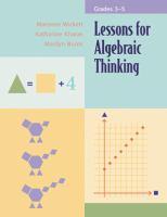 Lessons for Algebraic Thinking
