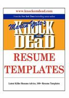 Knock 'em Dead Resume Templates