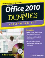 Microsoft Office 2010 for Dummies ELearning Kit