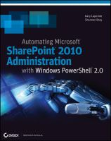 Automating Microsoft SharePoint 2010 With Windows PowerShell 2.0