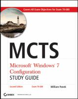 MCTS Microsoft Windows 7 Configuration Study Guide, Second Edition (Exam 70-680)