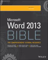 Microsoft Word 2013 Bible