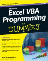 Excel VBA Programming for Dummies, 3rd Edition