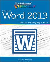 Teach Yourself Visually Word 2013