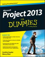 Microsoft Project 2013 for Dummies