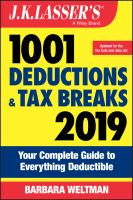 J.K. Lasser's 1001 Deductions and Tax Breaks, 2019