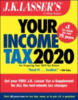 J.K. Lasser's your Income Tax 2020