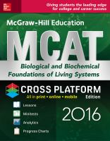 McGraw-Hill Education MCAT Biological And Biochemical Foundations Of Living Systems 2016 Cross-Platform Edition