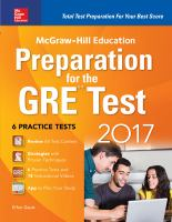 McGraw-Hill Education Preparation for the GRE Test, 2017