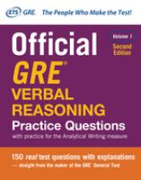 Official GRE Verbal Reasoning Practice Questions, Volume 1