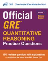 Official GRE Quantitative Reasoning Practice Questions, Volume 1