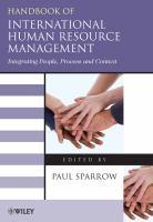 Handbook of International Human Resource Management