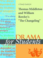"""A Study Guide for Thomas Middleton's """"the Changeling"""""""