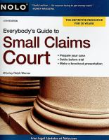 Everybody's Guide to Small Claims Court