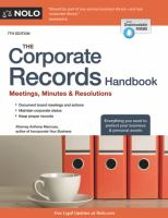 The Corporate Records Handbook