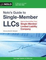 Nolo's Guide to Single-member LLCs