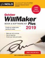 Quicken WillMaker Plus 2019 Book & Software Kit