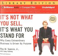 It's Not What You Sell, It's What You Stand for