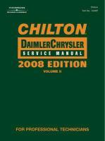 Chilton Chrysler Service Manual, 2008 Edition, Volume II