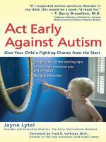 Act Early Against Autism