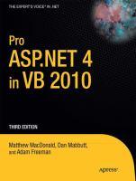 Pro ASP.NET 4 in VB 2010, Third Edition
