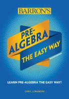 Barron's Pre-algebra the Easy Way