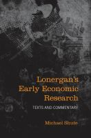 Lonergan's Early Economic Research