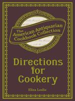 Directions for Cookery